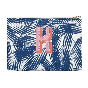 Monogrammed Clutch - Palm Leaves Navy (Large)
